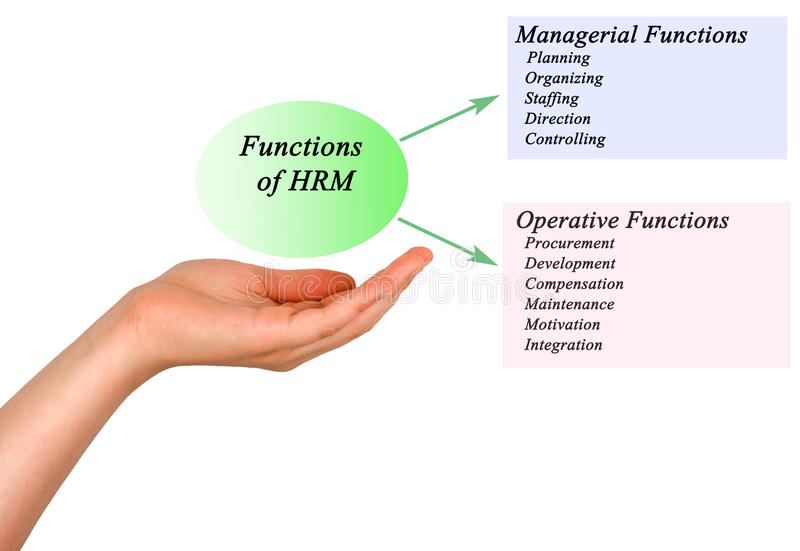 Functions of HRM. Presenting diagram of Functions of HRM stock images