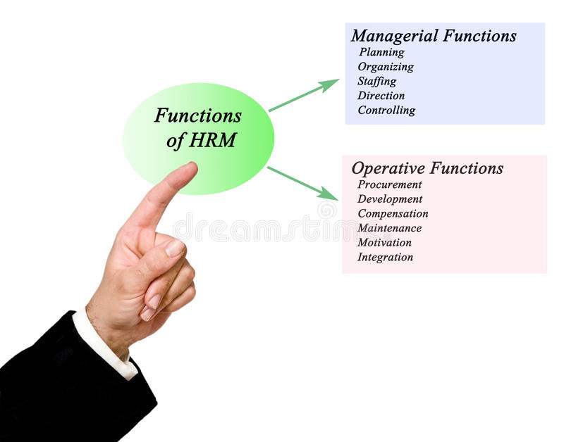 Functions of HRM. Presenting diagram of Functions of HRM stock illustration