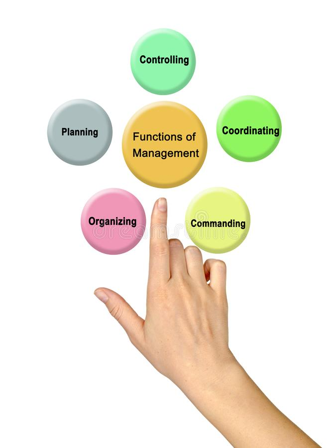 Functions of Management. Woman presenting Functions of Management stock illustration