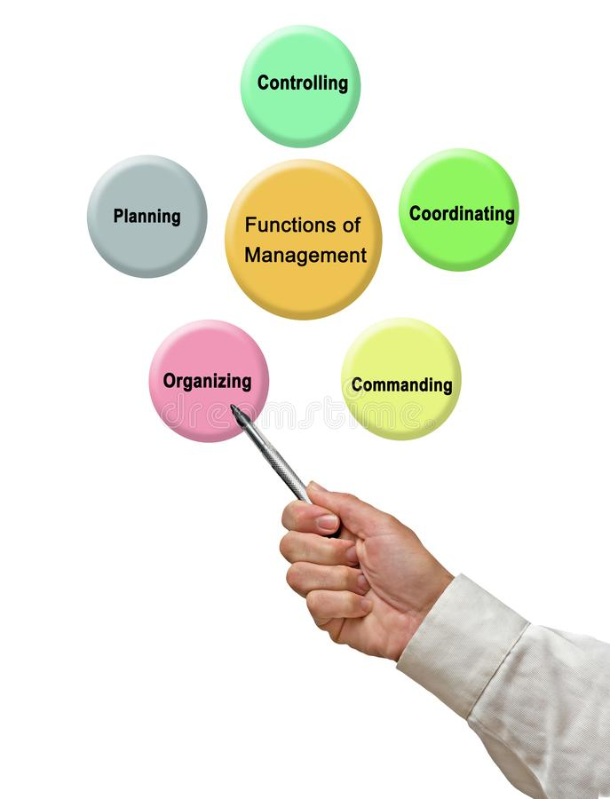 Functions of Management. Presenting five Functions of Management stock illustration