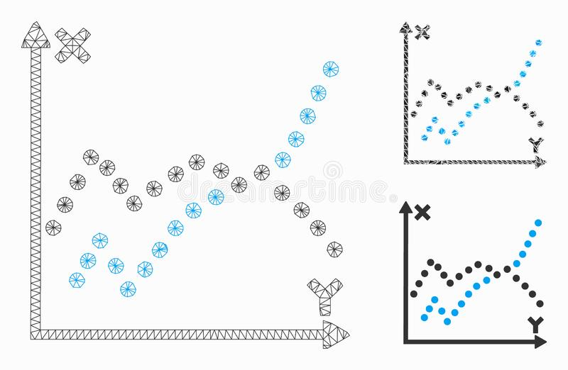 Functions Plot Vector Mesh Network Model and Triangle Mosaic Icon. Mesh functions plot model with triangle mosaic icon. Wire carcass polygonal mesh of functions royalty free illustration