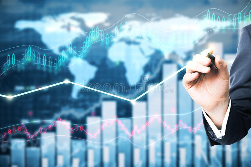 Fund management concept. Hand drawing arrow on forex chart background. Fund management concept stock image