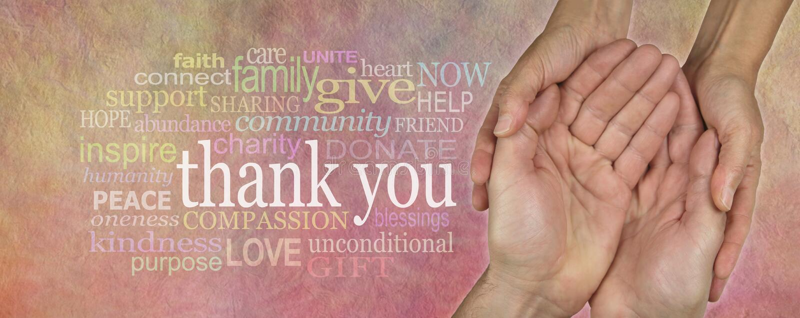 Fund Raising Campaign Website Header saying Thank You. Female hands cupped around male cupped hands on parchment effect background with a word cloud surrounding stock image