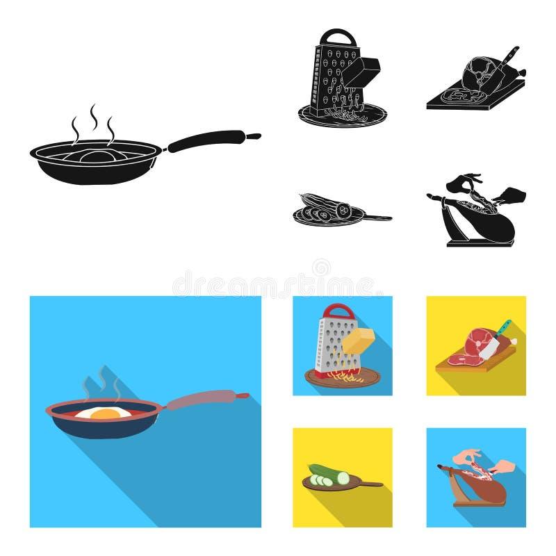 Funda, urządzenie, narzędzie i inna sieci ikona w czarnym, mieszkanie styl kucharz, gospodyni domowa, wręcza ikony w ustalonej ko ilustracji