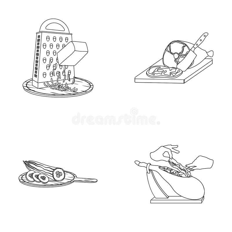 Funda, urządzenie, narzędzie i inna sieci ikona w konturze, projektujemy kucharz, gospodyni domowa, wręcza ikony w ustalonej kole ilustracja wektor