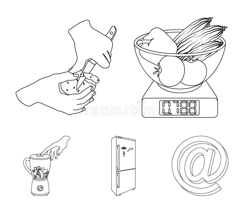 Funda, urządzenie, narzędzie i inna sieci ikona w konturze, projektujemy kucharz, gospodyni domowa, wręcza ikony w ustalonej kole royalty ilustracja