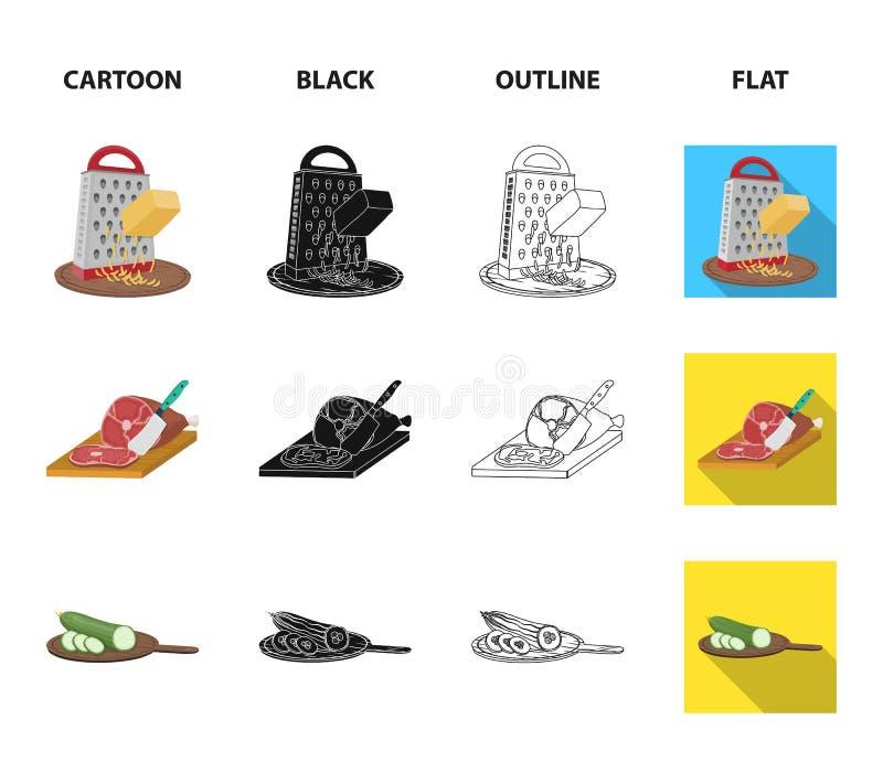 Funda, urządzenie, narzędzie i inna sieci ikona w kreskówce, czerń, kontur, mieszkanie styl kucharz, gospodyni domowa, wręcza iko ilustracji