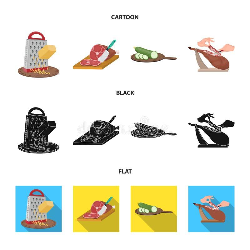 Funda, urządzenie, narzędzie i inna sieci ikona w kreskówce, czerń, mieszkanie styl kucharz, gospodyni domowa, wręcza ikony w ust ilustracji