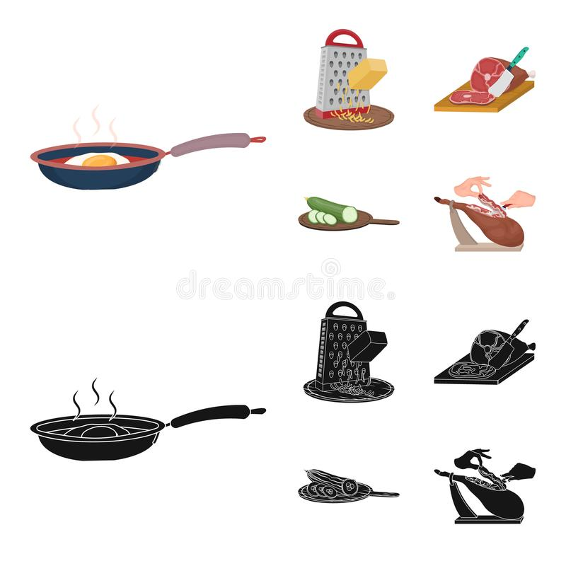 Funda, urządzenie, narzędzie i inna sieci ikona w kreskówce, czerń styl kucharz, gospodyni domowa, wręcza ikony w ustalonej kolek royalty ilustracja