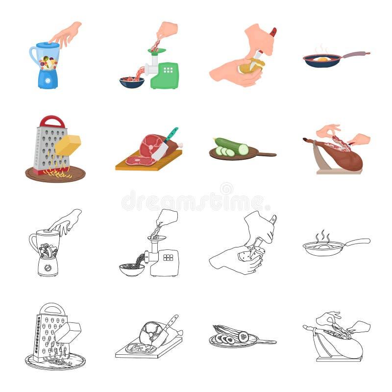 Funda, urządzenie, narzędzie i inna sieci ikona w kreskówce, konturu styl kucharz, gospodyni domowa, wręcza ikony w ustalonej kol ilustracja wektor