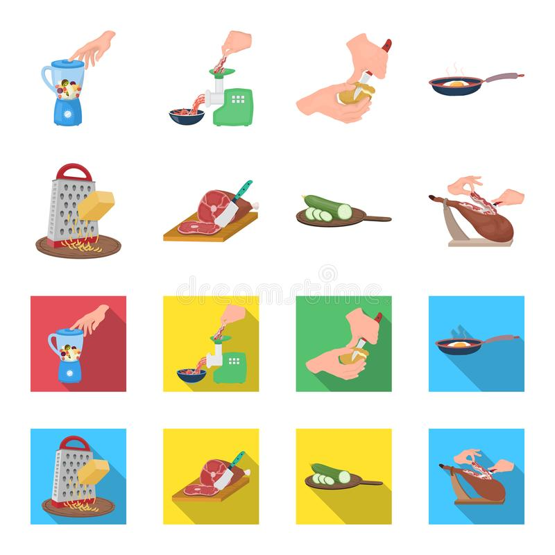 Funda, urządzenie, narzędzie i inna sieci ikona w kreskówce, mieszkanie styl kucharz, gospodyni domowa, wręcza ikony w ustalonej  ilustracji