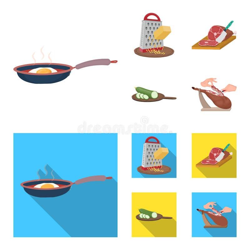 Funda, urządzenie, narzędzie i inna sieci ikona w kreskówce, mieszkanie styl kucharz, gospodyni domowa, wręcza ikony w ustalonej  ilustracja wektor