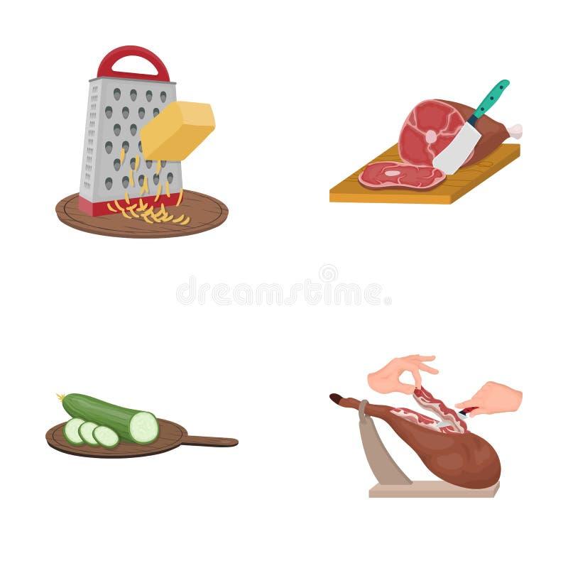 Funda, urządzenie, narzędzie i inna sieci ikona w kreskówce, projektujemy kucharz, gospodyni domowa, wręcza ikony w ustalonej kol ilustracja wektor