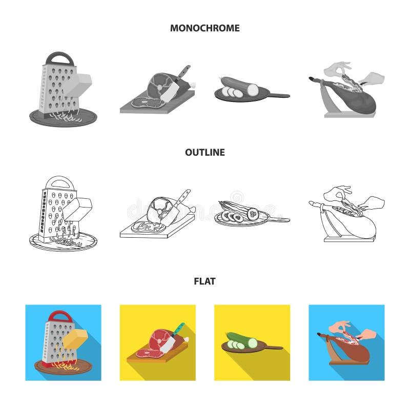 Funda, urządzenie, narzędzie i inna sieci ikona w mieszkaniu, kontur, monochromu styl kucharz, gospodyni domowa, wręcza ikony w s ilustracji