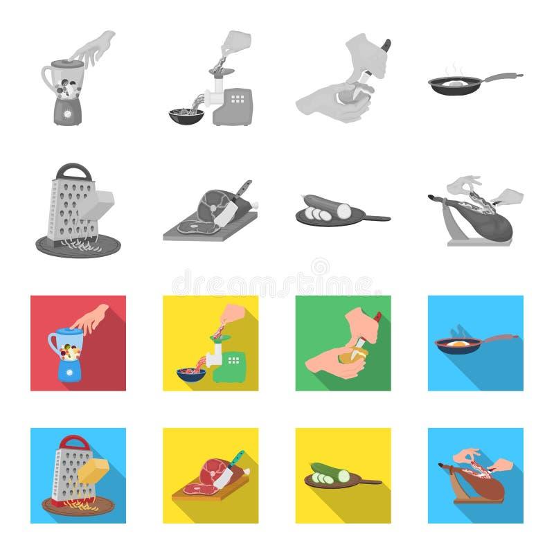 Funda, urządzenie, narzędzie i inna sieci ikona w monochromu, mieszkanie styl kucharz, gospodyni domowa, wręcza ikony w ustalonej ilustracji