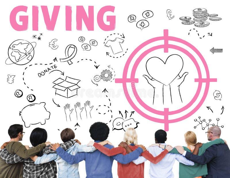 Fundación de las donaciones que da concepto de la caridad del bienestar de la ayuda foto de archivo