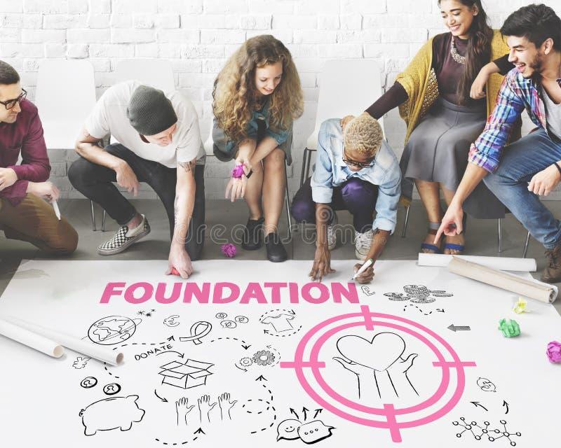 Fundación de las donaciones que da concepto de la caridad del bienestar de la ayuda fotos de archivo