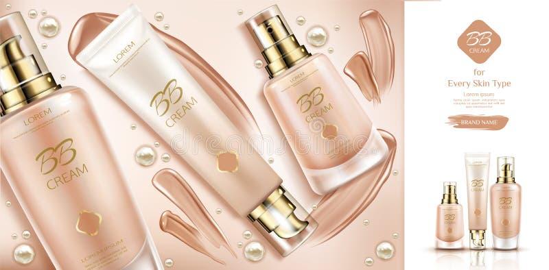 Fundación poner crema de los cosméticos y de las manchas de la belleza del Bb stock de ilustración