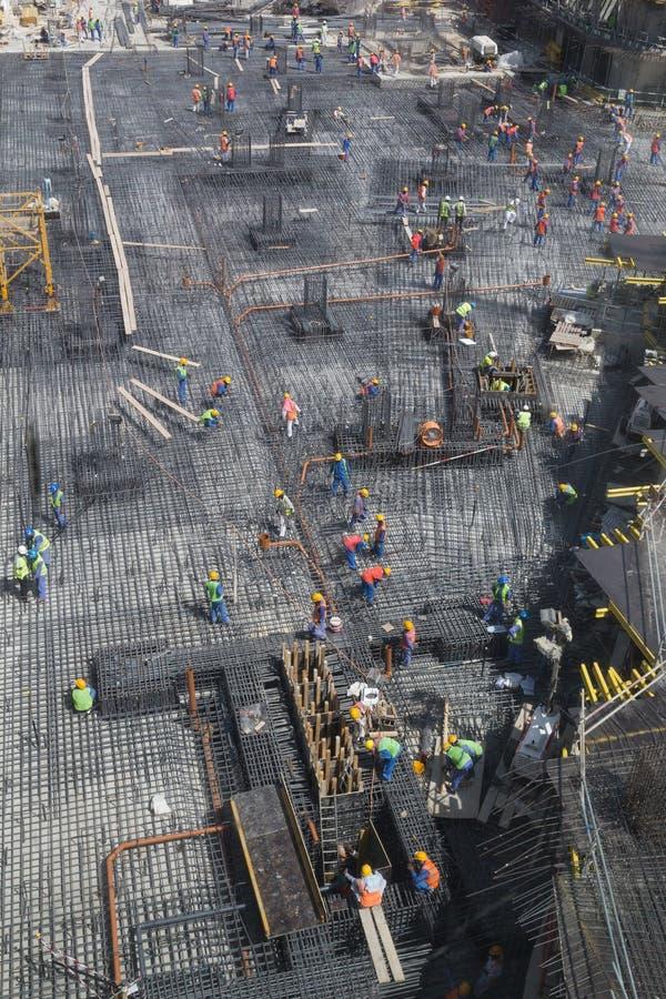 Fundacyjna praca dla nowego budynku w Dubaj zdjęcie stock