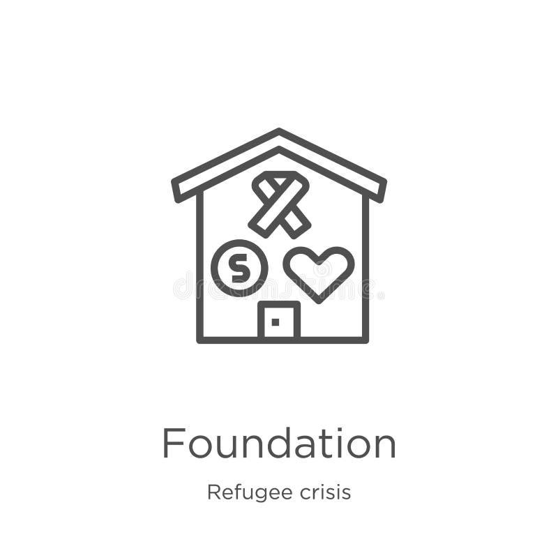 fundacyjny ikona wektor od uchodźcy kryzysu kolekcji Cienka kreskowa fundacyjna kontur ikony wektoru ilustracja Kontur, cienieje  royalty ilustracja