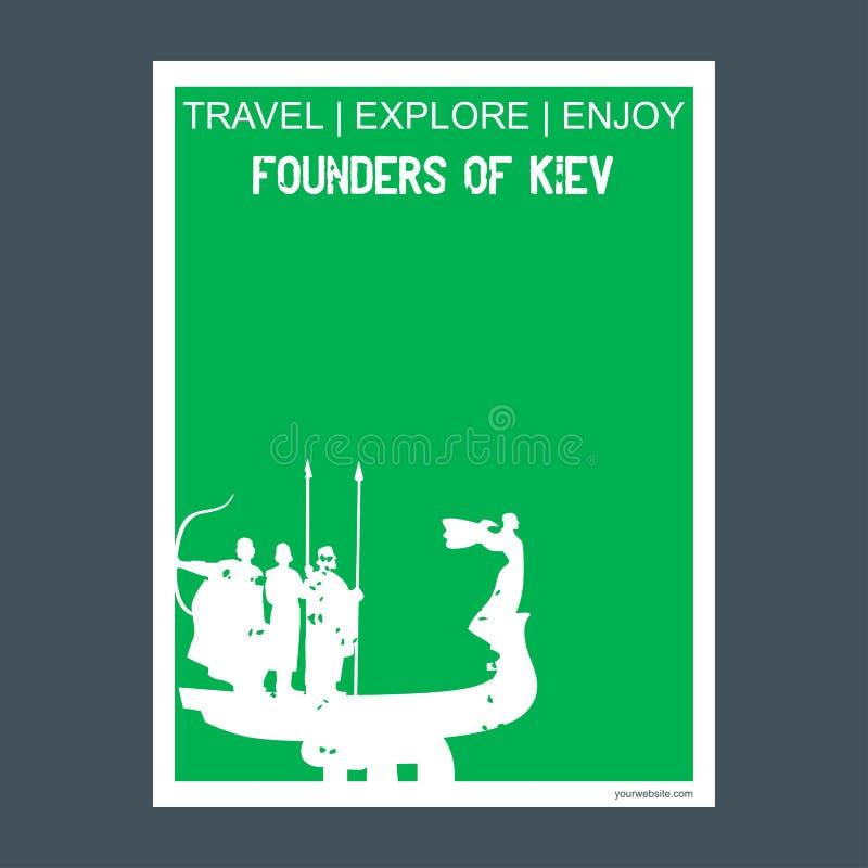 Fundador estilo plano a del folleto de la señal del monumento de Kiev, Ucrania ilustración del vector