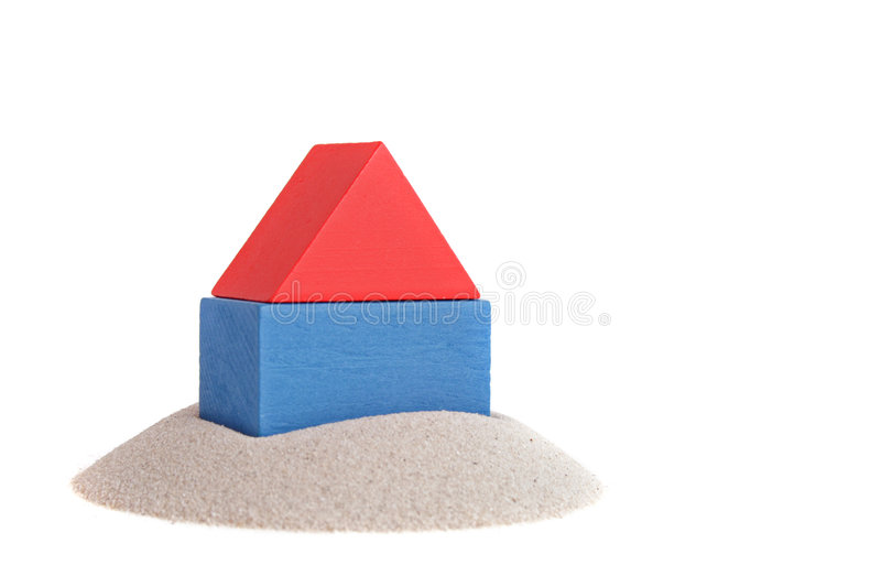 Fundament. A stylized house out of blocks. All isolated on white background royalty free stock photography