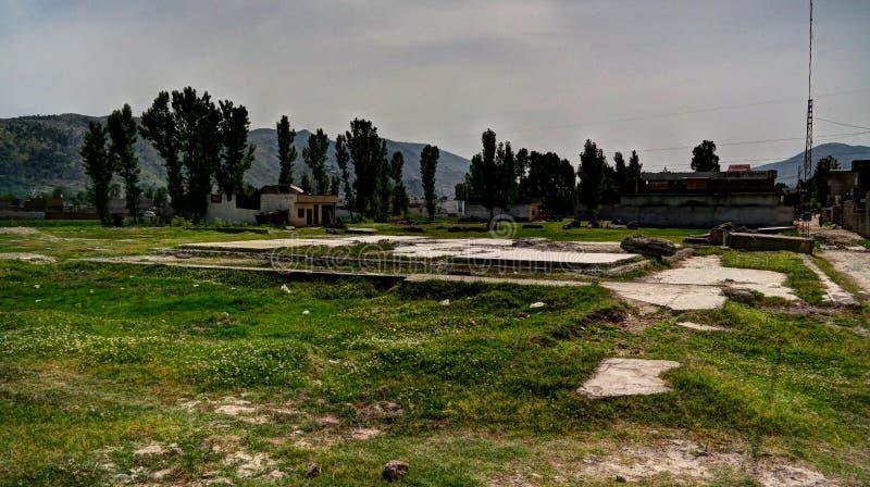 Fundament av det tidigare Osama bin Laden huset i Abbotabad Pakistan royaltyfria bilder