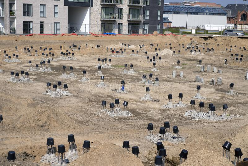 Fundament på en konstruktionsplats royaltyfri fotografi
