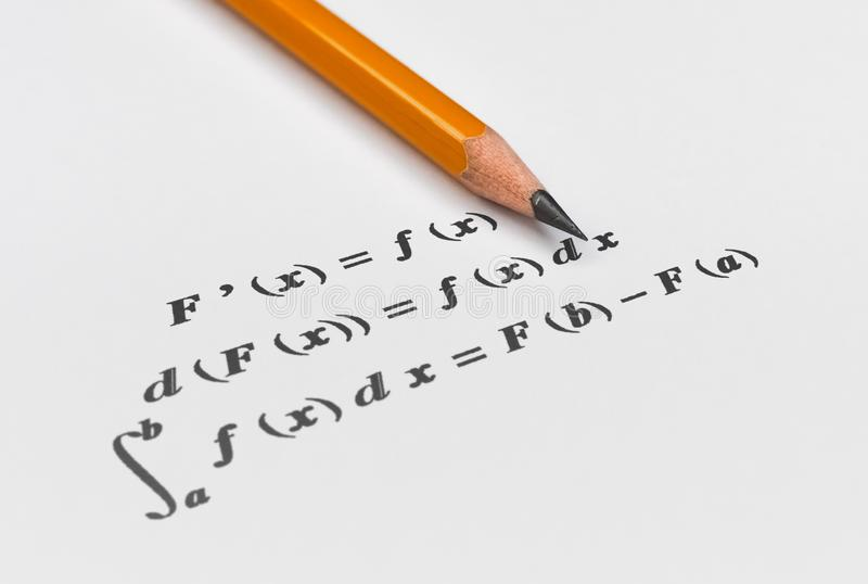 Fundamental calculus theorem. Fundamental theorem in differential and integral calculus on bright background stock illustration
