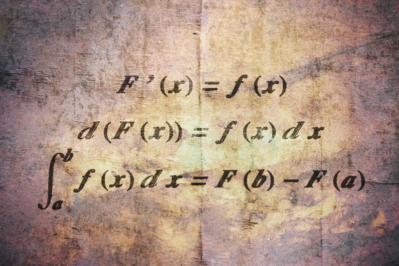 Fundamental calculus theorem. Fundamental theorem in differential and integral calculus on vintage background stock image