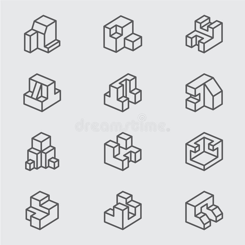 Fundamenteel isometrisch lijnpictogram stock afbeeldingen