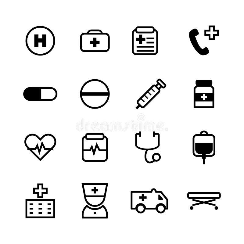 16 fundamenteel zwart die pictogram voor medisch en gezondheidszorg wordt geplaatst stock illustratie