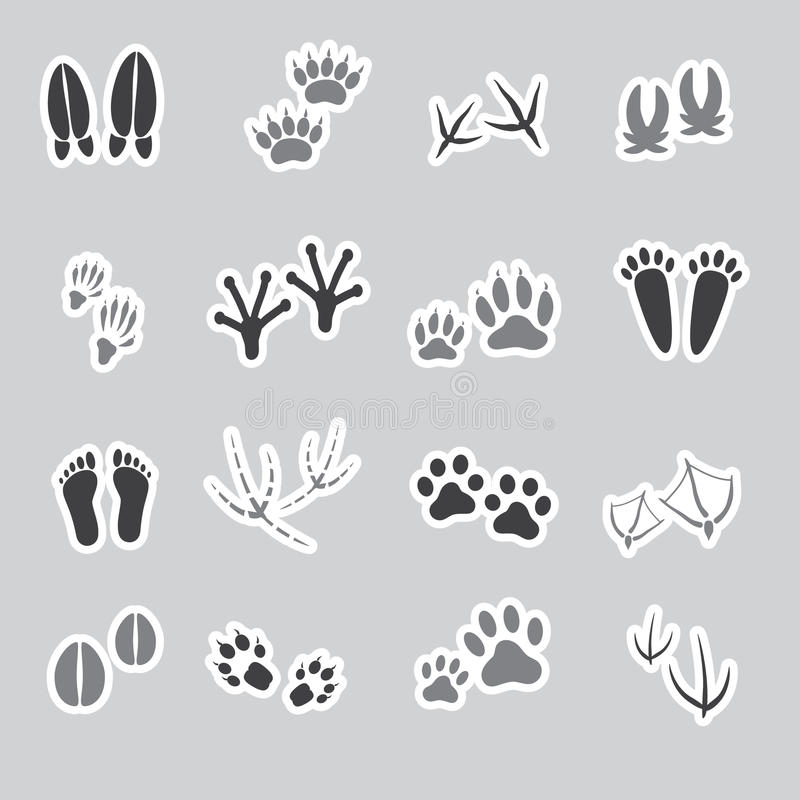 Fundamentele dierlijke voetafdrukkenstickers, reeks stock illustratie