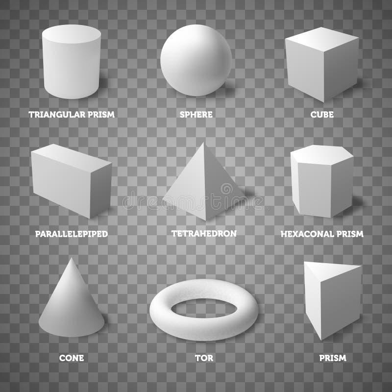 Fundamentele geometrische vormen en organismen op transparante achtergrond Stevige organismen Realistische illustratie royalty-vrije illustratie