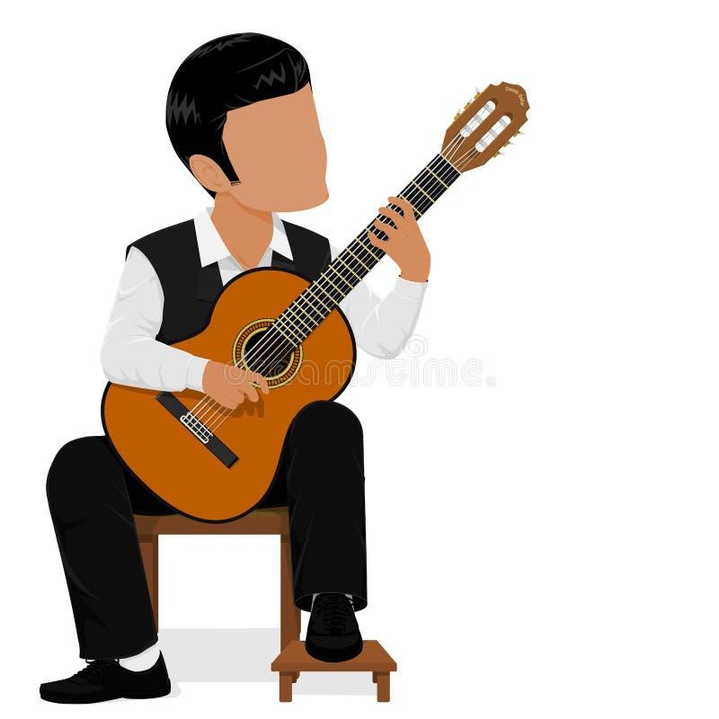 Fundamentele klassieke gitarist vector illustratie