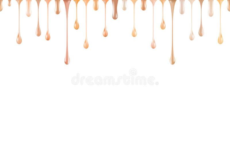 Fundamentflytande tappar isolerad sömlös bakgrund Palett för signalkrämprövkopia Hudtextur av små droppar Det purpurf?rgade smink royaltyfria bilder