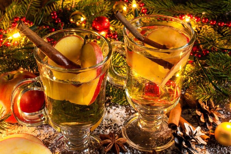 Funderad äppeljuice med kanel, äpplet, anis och citruns arkivfoto