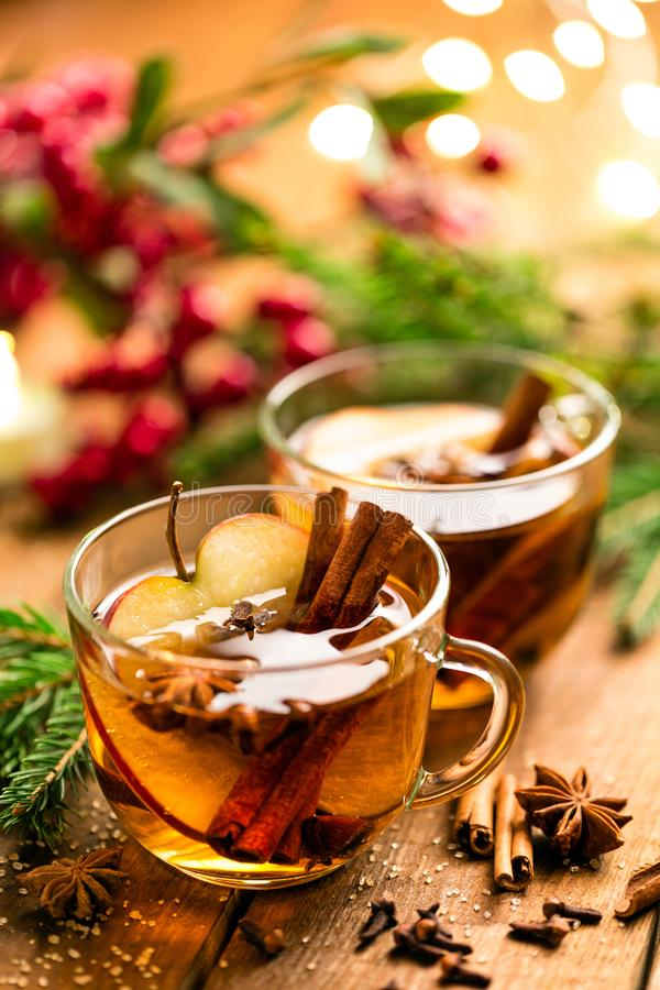Funderad äppeljuice med kanel, kryddnejlikor och anis Traditionell juldrink royaltyfri foto