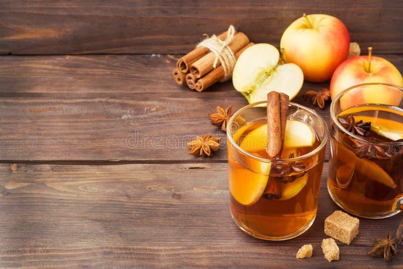 Funderad vinäppeljuice i exponeringsglas rånar med kanel, anis och äpplen Begreppet av coctailstången kopiera avstånd royaltyfri foto