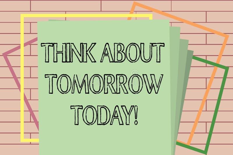 Funderare för handskrifttexthandstil om morgondag i dag Begreppsbetydelsen förbereder din framtid föreställa sig nu vad är nästa vektor illustrationer