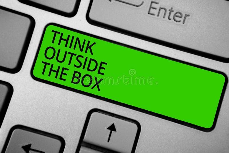Funderare för ordhandstiltext utanför asken Affärsidéen för är unika olika idéer kommer med knappen för idékläckningtangentbordgr arkivbilder