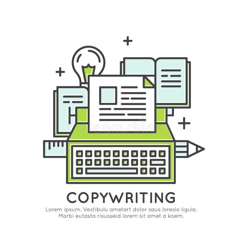 Funderare utanför askbegreppet, fantasin, den smarta lösningen, kreativiteten och kläckningen av ideer, Copywriting innehållsskap royaltyfri illustrationer