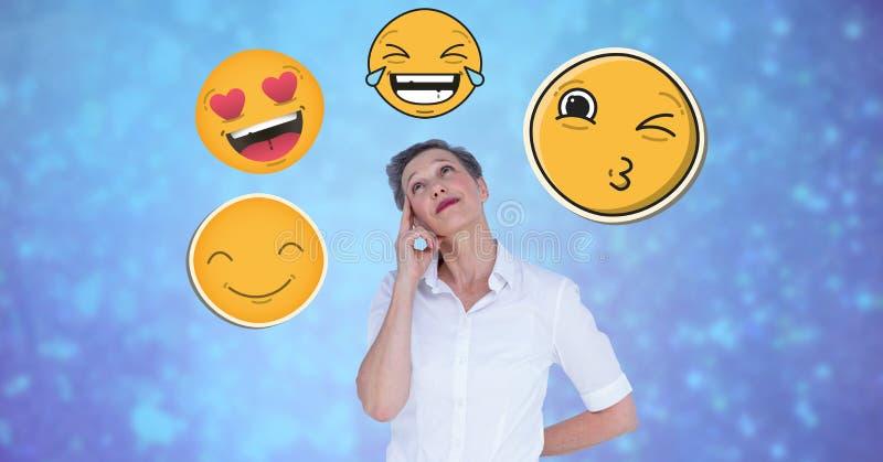 Fundersam affärskvinna med emojis vektor illustrationer