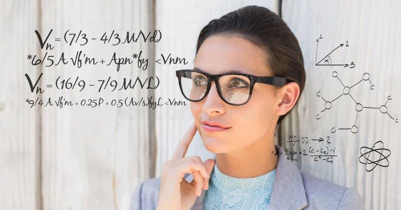 Fundersam affärskvinna med matematiklikställande royaltyfri fotografi