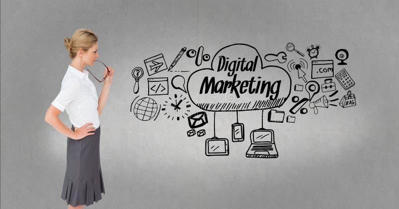 Fundersam affärskvinna som ser digital marknadsföring och diagram vektor illustrationer