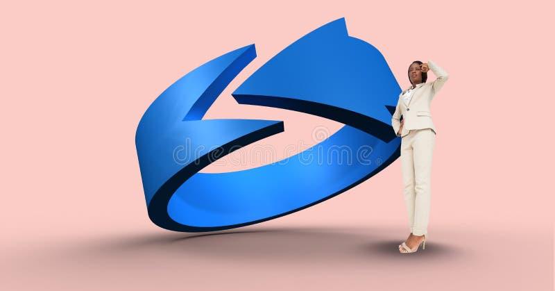 Fundersam affärskvinna vid det blåa piltecknet stock illustrationer