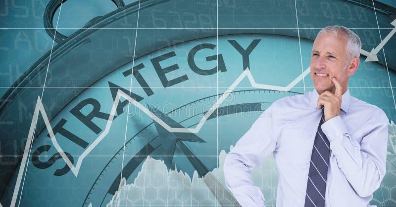 Fundersam affärsman som ler mot strategiklockan royaltyfri illustrationer