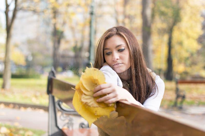 Fundersam ung kvinna med höstsidor på bänk i parkera arkivbilder