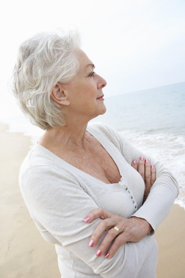Fundersamt högt kvinnaanseende på stranden royaltyfri bild
