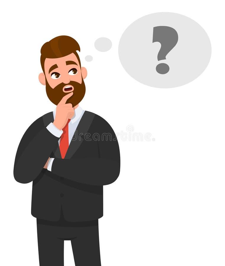 Fundersamt ungt tänka för affärsman Symbol för frågefläck i tankebubbla royaltyfri illustrationer